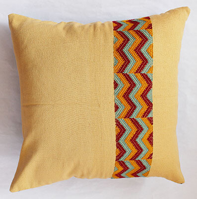Woven Cushion Cover - Beige with Zig Zag