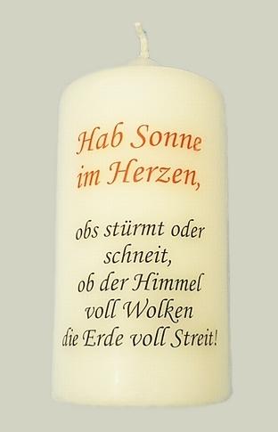 """Gebetskerze mit Spruch             """"Habe Sonne im Herzen"""""""