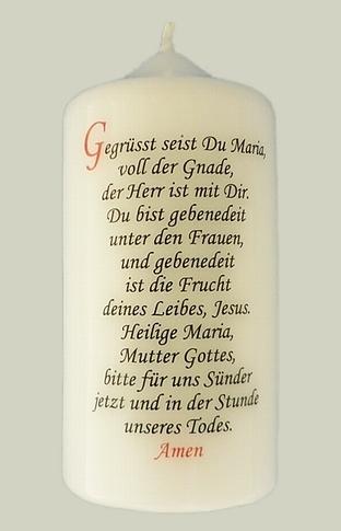 """Gebetskerze mit Spruch """"Gegrüsst seist Du Maria"""""""