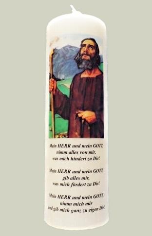 """Elfenbeinfarbene Kerze mit Bild  """"Bruder Klaus"""""""