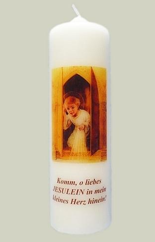"""Elfenbeinfarbene Kerze mit Bild  """"Jesuslein im Tabernakel"""""""