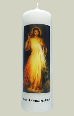 """Elfenbeinfarbene Kerze mit Bild  """"Jesus"""""""