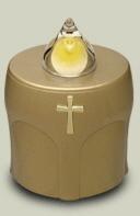 LED Kerze Gold mit Kreuz Leuchtet 300 Tage (10 Monate)
