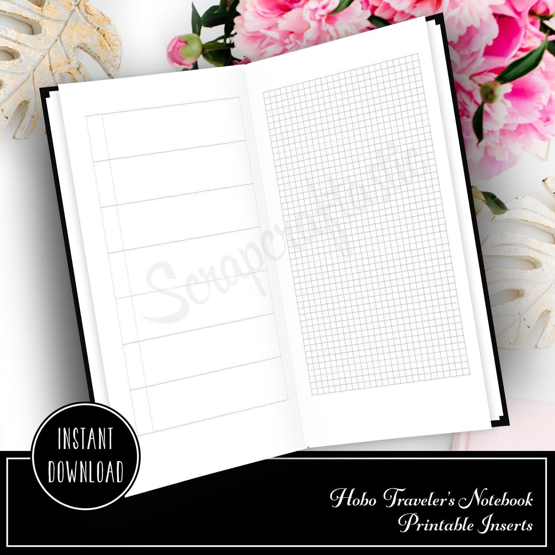HOBO Style Blank Traveler's Notebook Printable Planner Insert