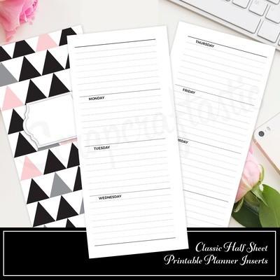 OOPS! CLASSIC HALF SHEET - Horizontal Lined Undated Weekly PRINTED Planner Insert