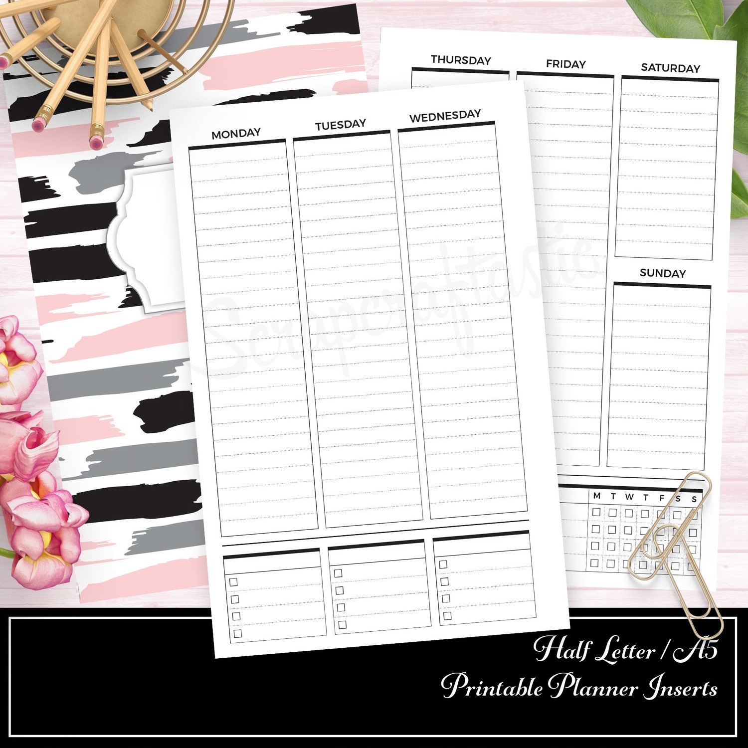 HALF LETTER A5 - Vertical Lined Undated Weekly Printable Planner Insert