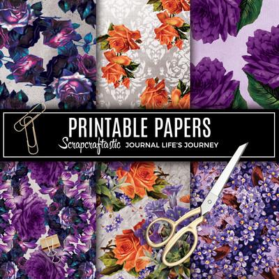 Serene Floral Vintage Digital Printable Pattern Papers
