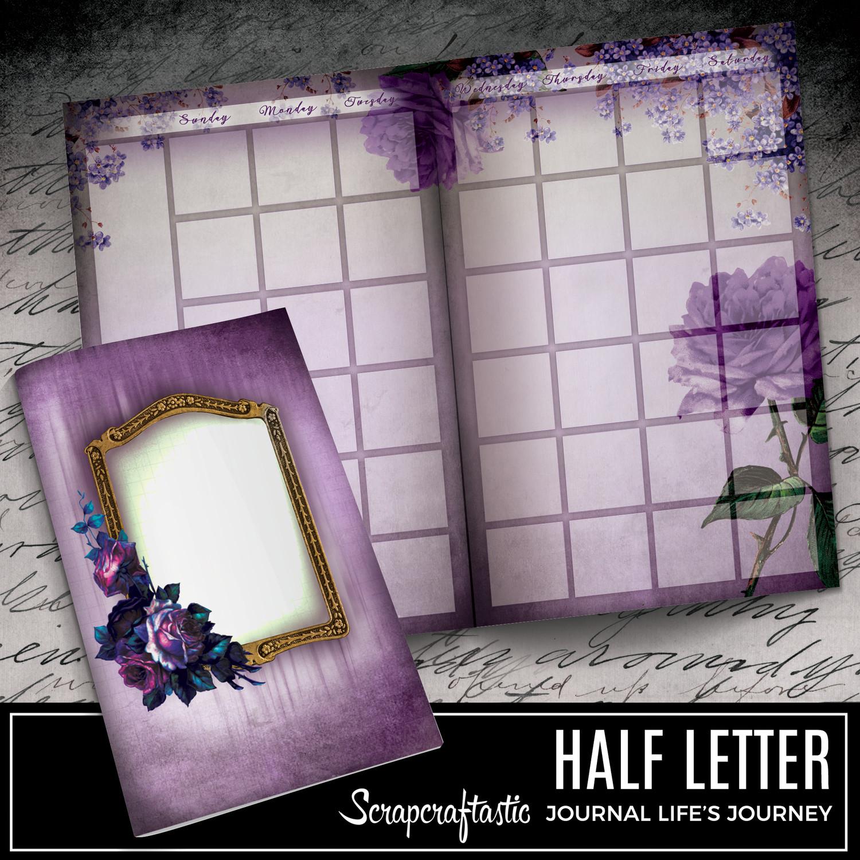 HALF LETTER - Serene Floral Vintage Printable Undated Monthly Journal