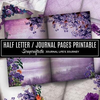 Serene Floral Vintage Digital Printable Half Letter Junk Journal Pages