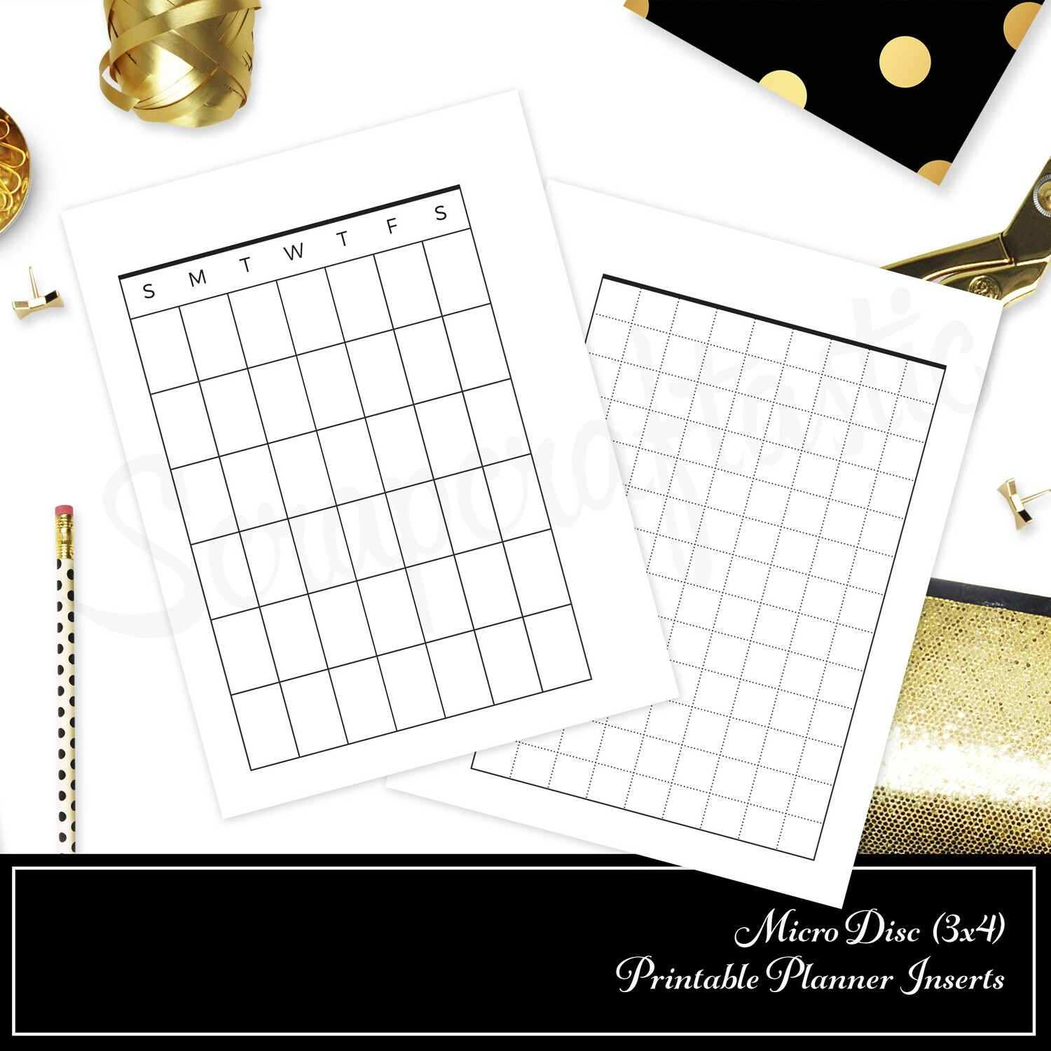 MICRO DISC - Month On One Page w/ Grid Printable Planner Insert