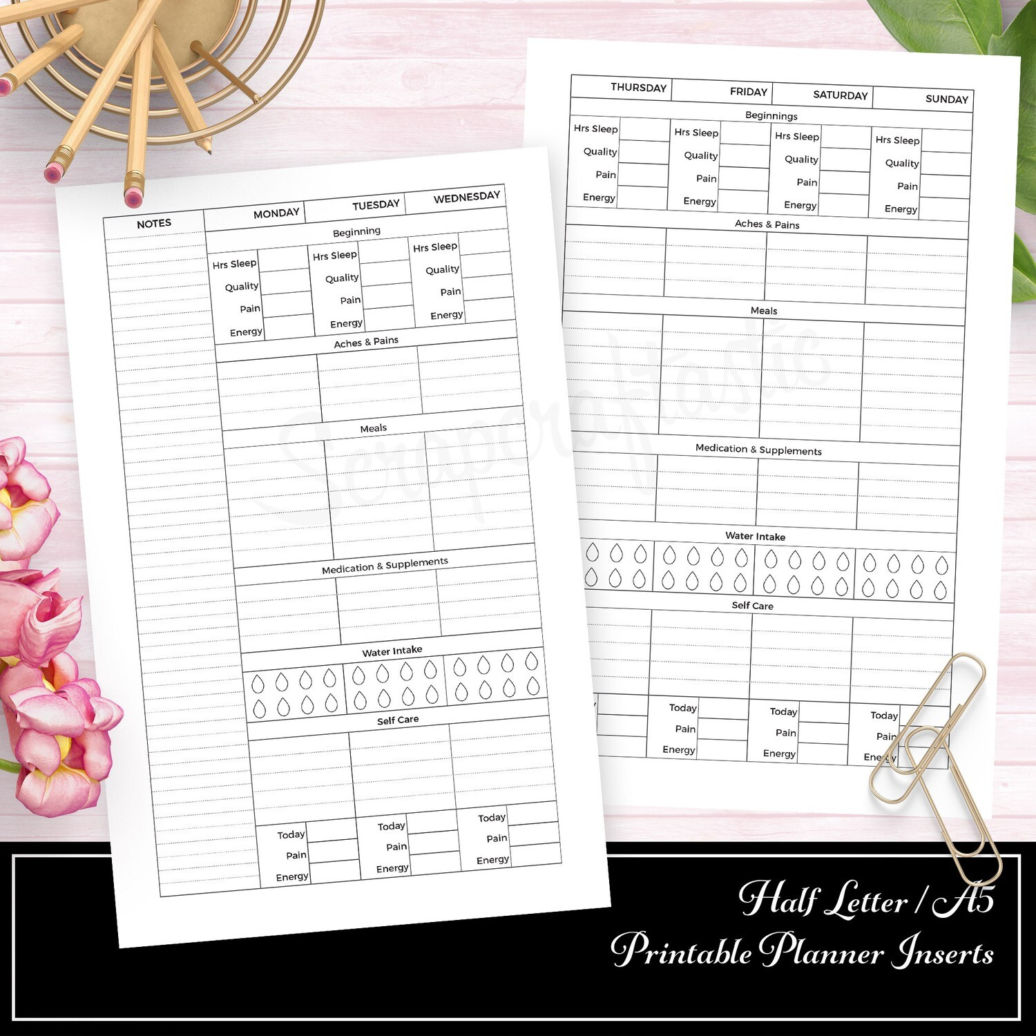HALF LETTER A5 RINGS/DISC - Health and Wellness Weekly Printable Planner Insert