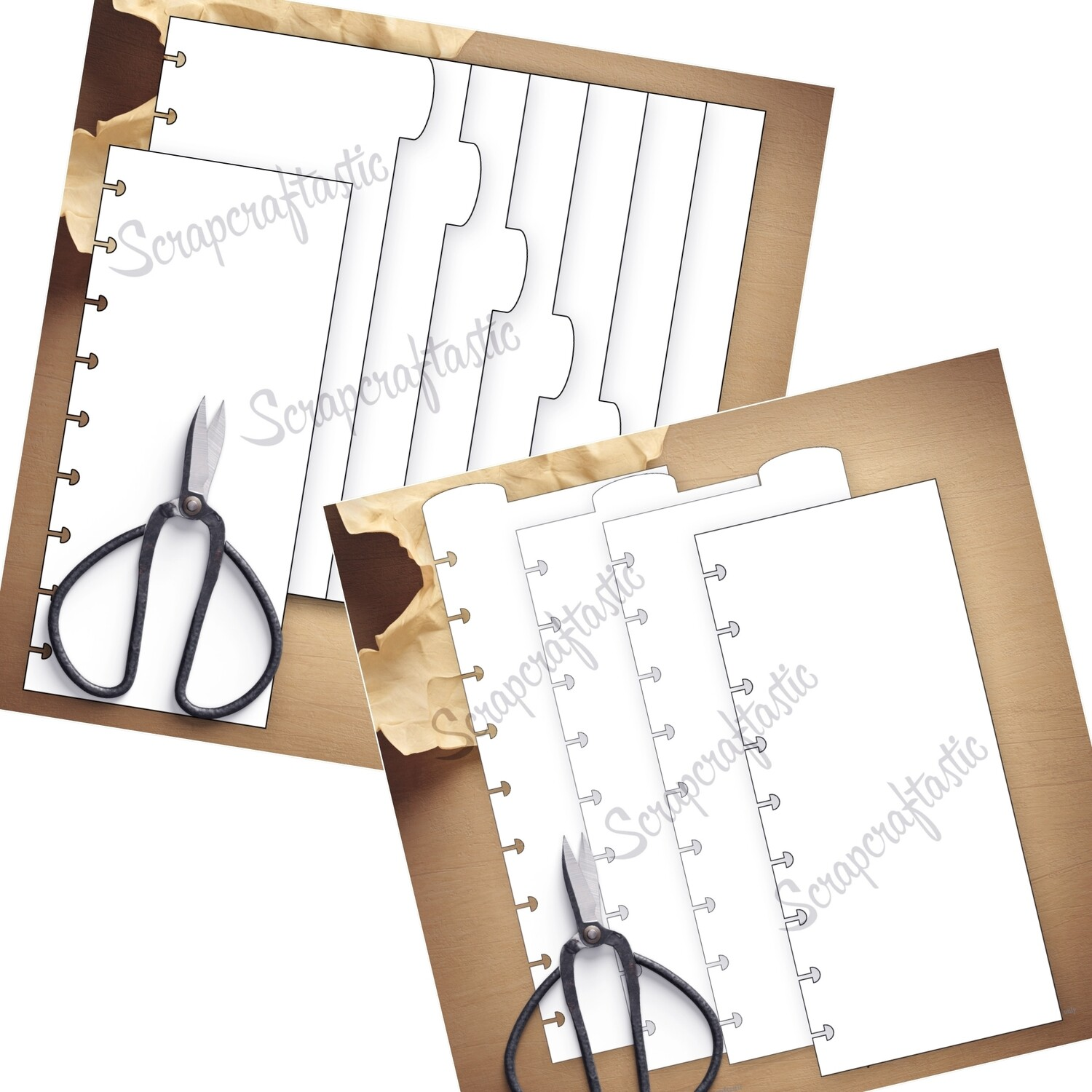 BUNDLE - CLASSIC HALF SHEET 7 Rounded Side Tab Dividers and 3 Rounded Top Tab Dividers Printable Templates and Cut Files (punched and not punched)
