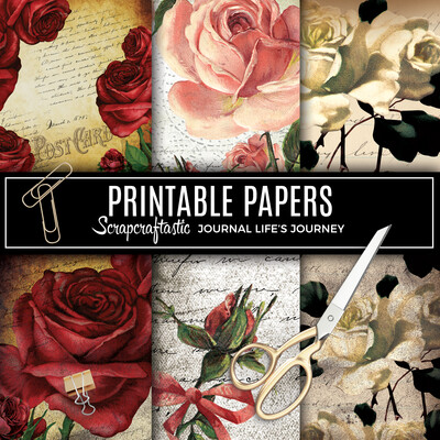 She Blooms Vintage Grunge Floral Digital Printable Pattern Papers