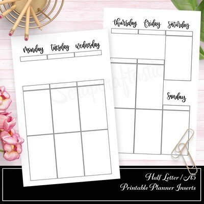 HALF LETTER TN or RINGS- FOIL READY Week On Two Pages (WO2P) Large Full Box Printable Planner Inserts