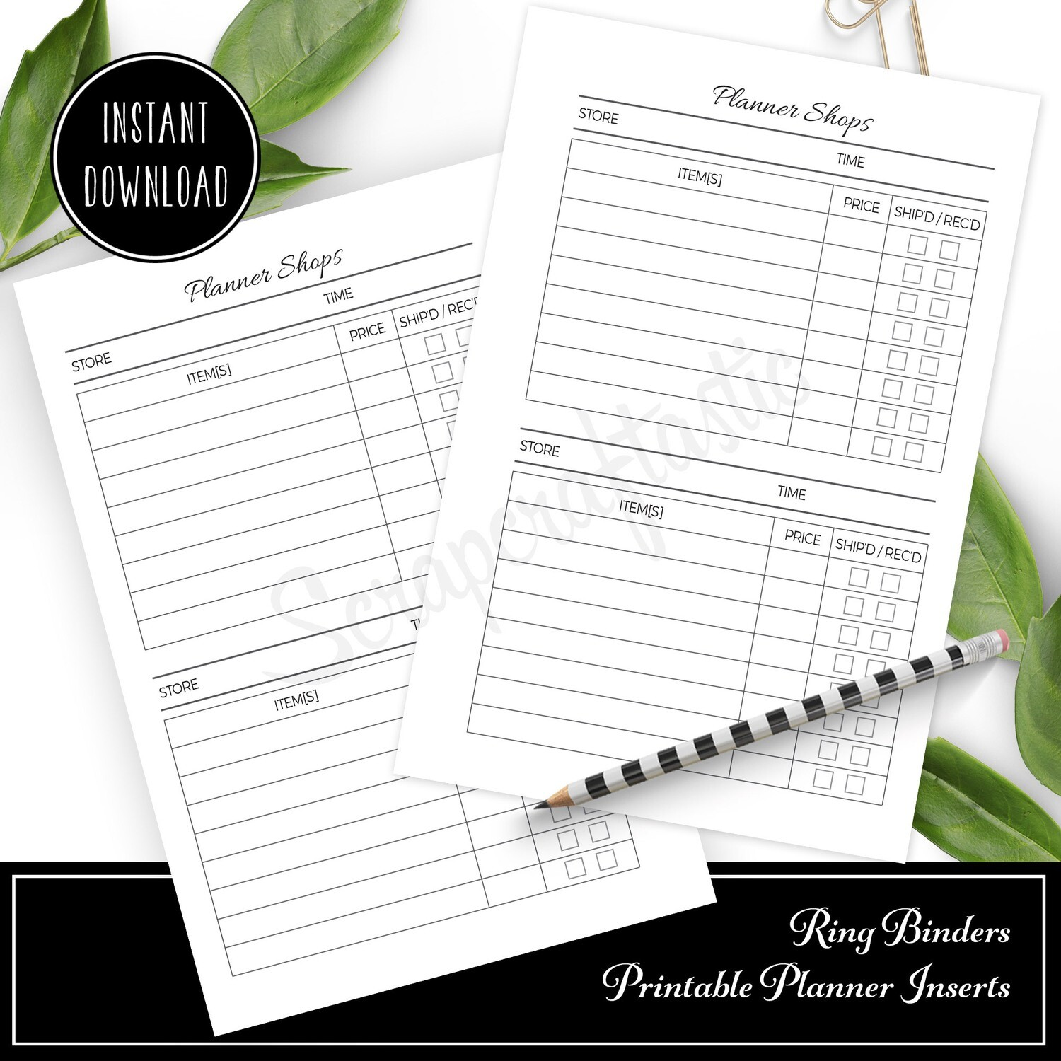 STANDARD TN - Black Friday Shopping Printable Planner Inserts