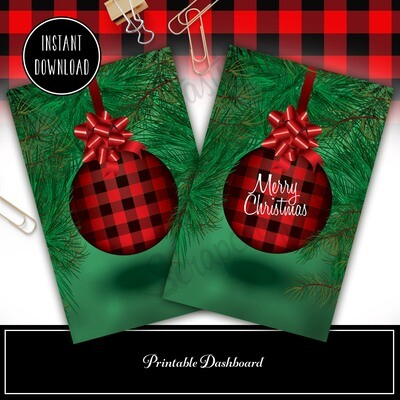HALF LETTER Buffalo Plaid Ornament Printable / Digital Download Dashboard