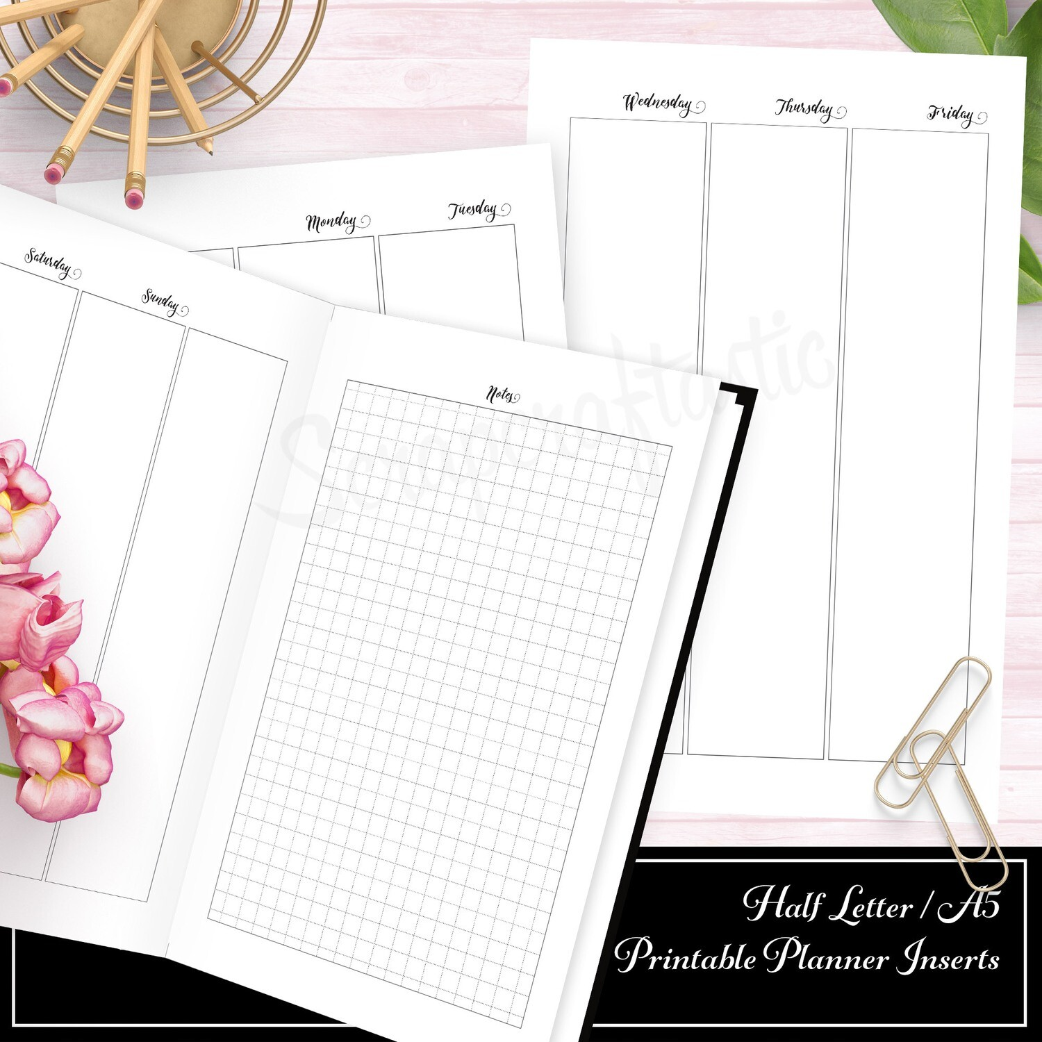 HALF LETTER A5 RINGS/DISC - Deluxe Week on Four Pages (WO4P) No Grid Printable Insert