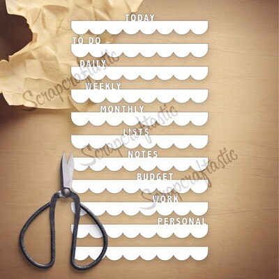 A5 HALF LETTER Top Word Tabs SVG and Studio Cut File