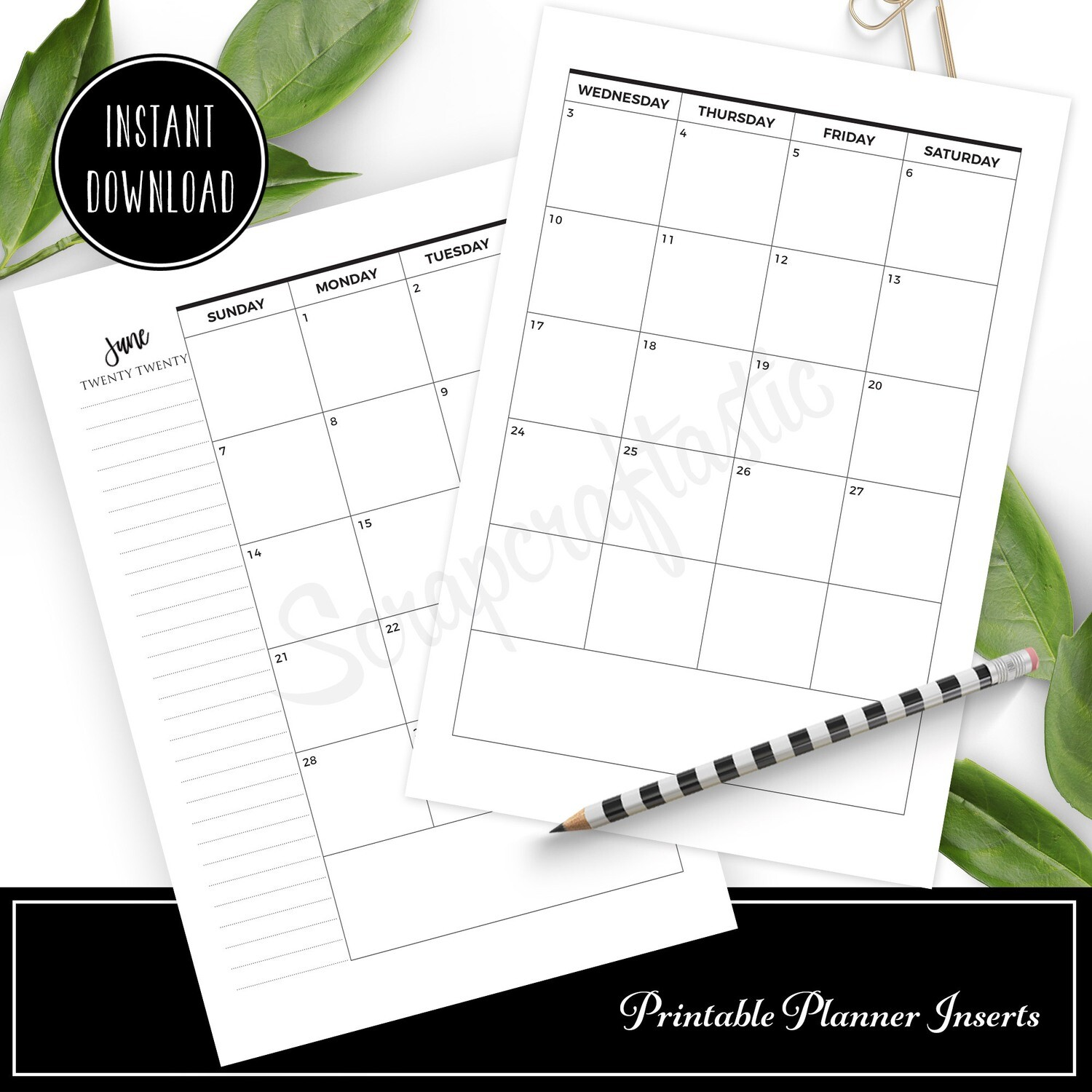FULL PAGE LETTER SIZE - 2020 Dated Monthly Calendar Printable Planner Inserts