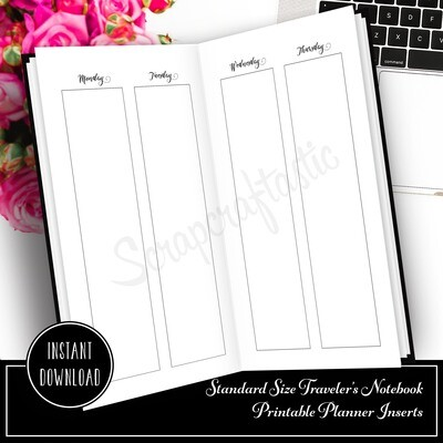 STANDARD TN - Week On Four Pages (WO4P) Vertical Blank Columns Printable Planner Inserts