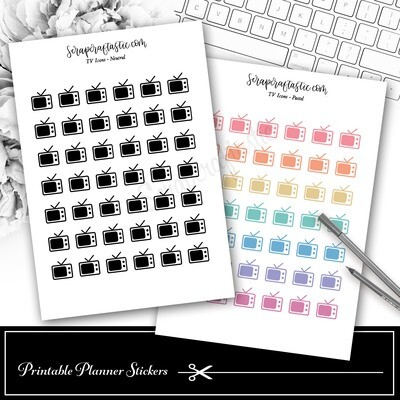 TV ICON Printable Planner Stickers