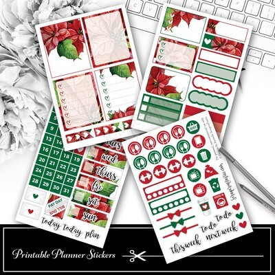 Traditional Christmas Poinsettia Floral Mini Kit Printable Planner Stickers