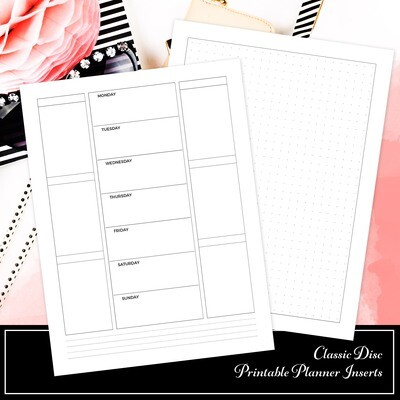 CLASSIC DISC - Week On One Page Double Columns and Grid Printable Planner Inserts