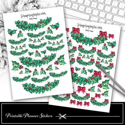 Holly Swag Decor Printable Planner Stickers