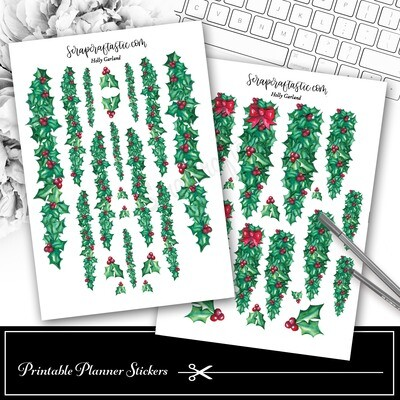 Holly Garland Decor Printable Planner Stickers