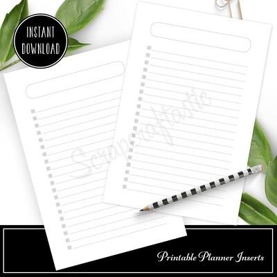 HALF LETTER A5 - Checklist Printable Planner Inserts