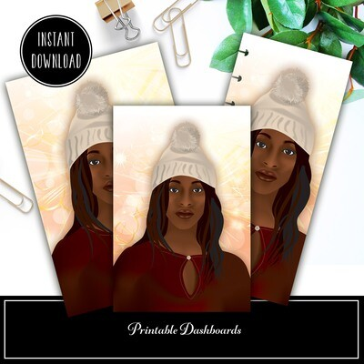 January Girl Original Illustration Printable / Digital Download Dashboard Set