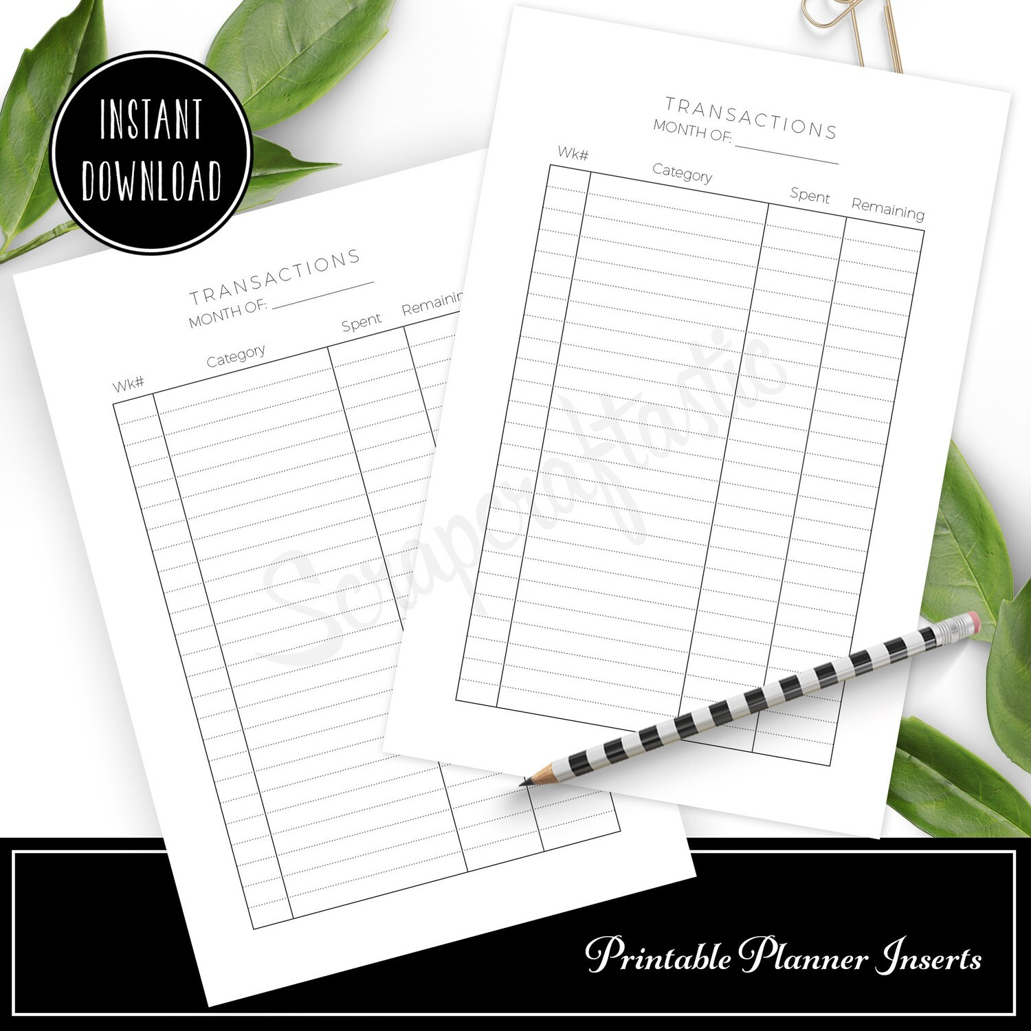 LETTER - Transactions Budget Printable Planner Inserts