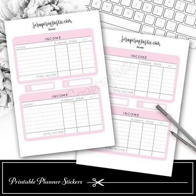 Income Budget Printable Planner Stickers
