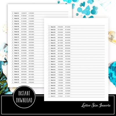 LETTER - 2020 Weekly Dated Tracker Printable Planner Insert