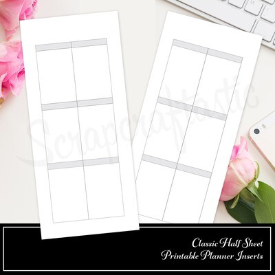 SKINNY CLASSIC HALF SHEET FAUXBONICHI - Basic Full Box Stamp Ready Layout