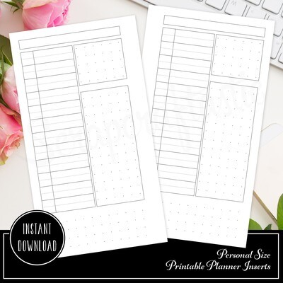 PERSONAL - Blank Daily Printable Planner Insert