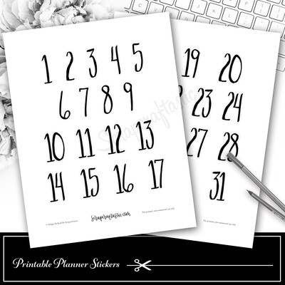 Handlettered Jumbo Numbers Days of the Month Printable Planner Stickers