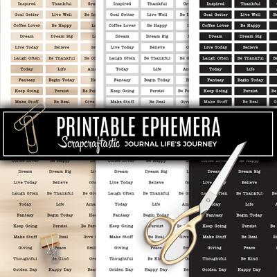 Word Set 1 Sentiment Ephemera Digital Printable Papers