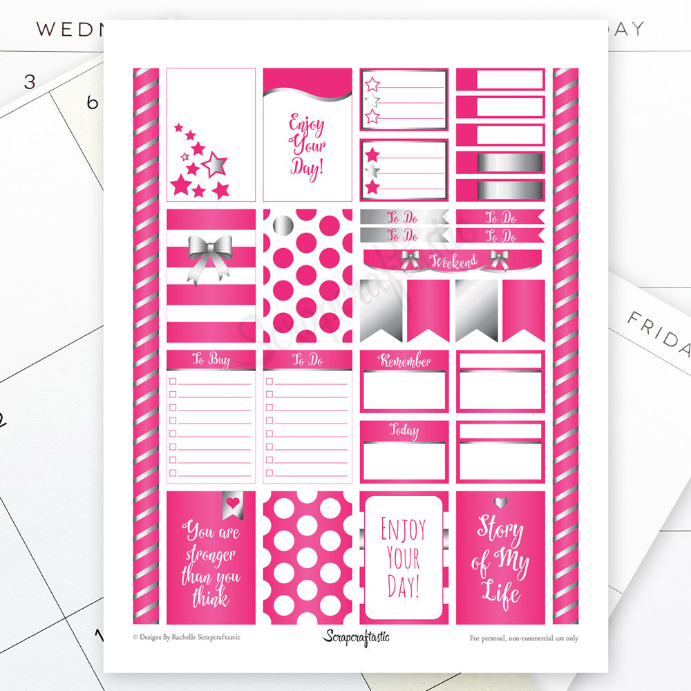 All Hot Pink Silver Pro Printable Planner Stickers for the Classic MAMBI Happy Planner