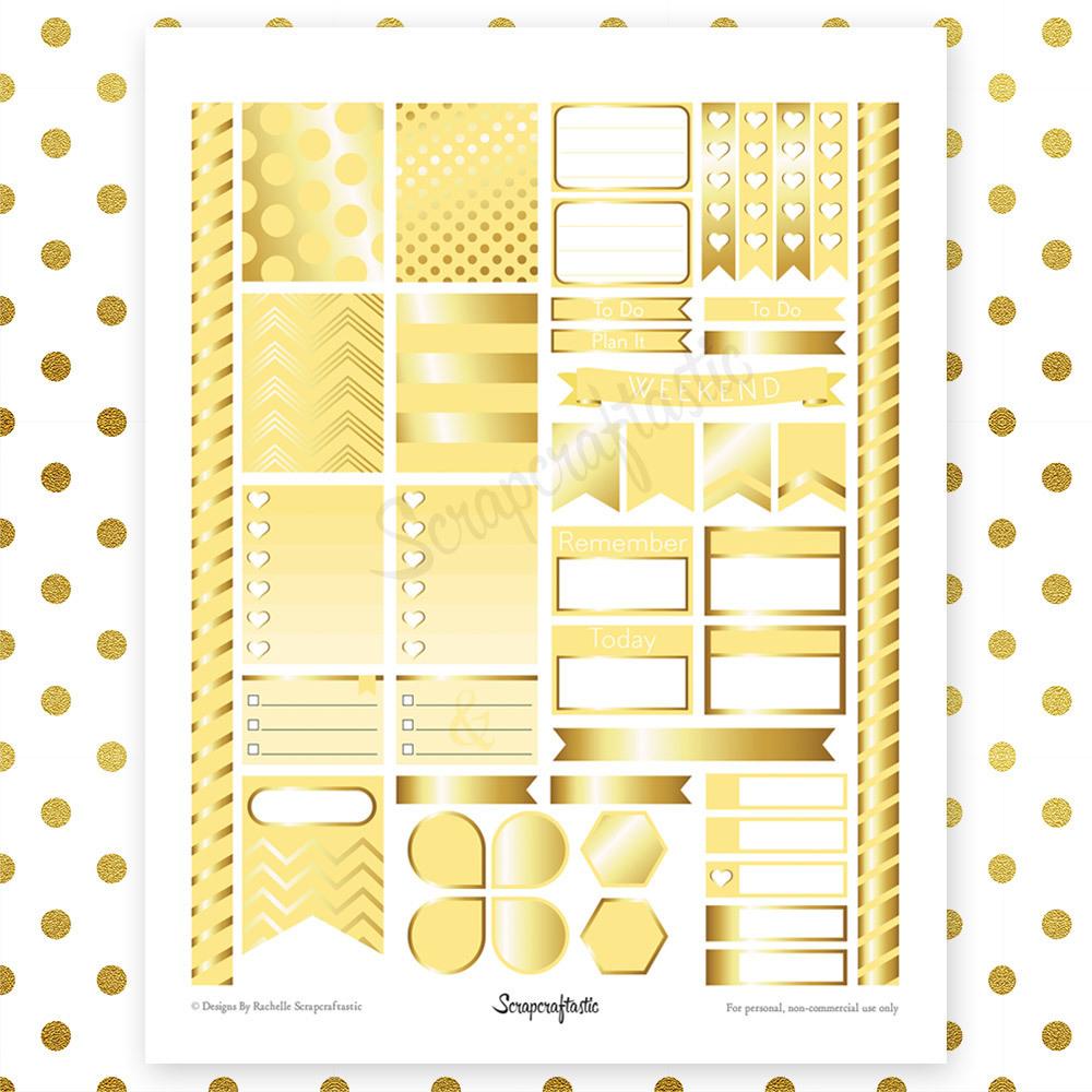 Banana & Gold Printable Planner Stickers | Erin Condren Life Planner ECLP