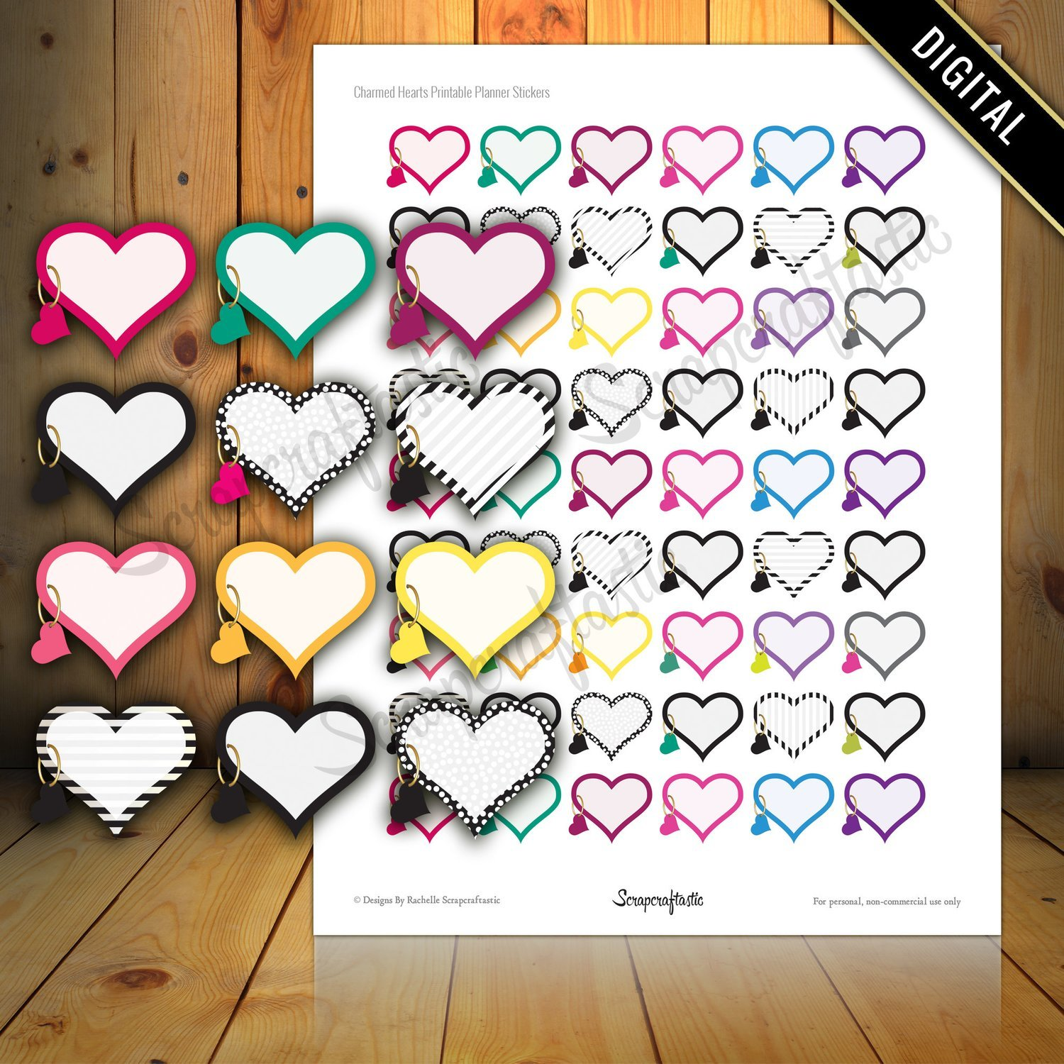 Charmed Hearts Printable Planner Stickers for Paper Planners, Agendas and Organizers