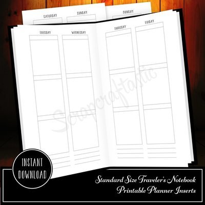 Week On Four Pages (WO4P) Standard Traveler's Notebook Printable Inserts