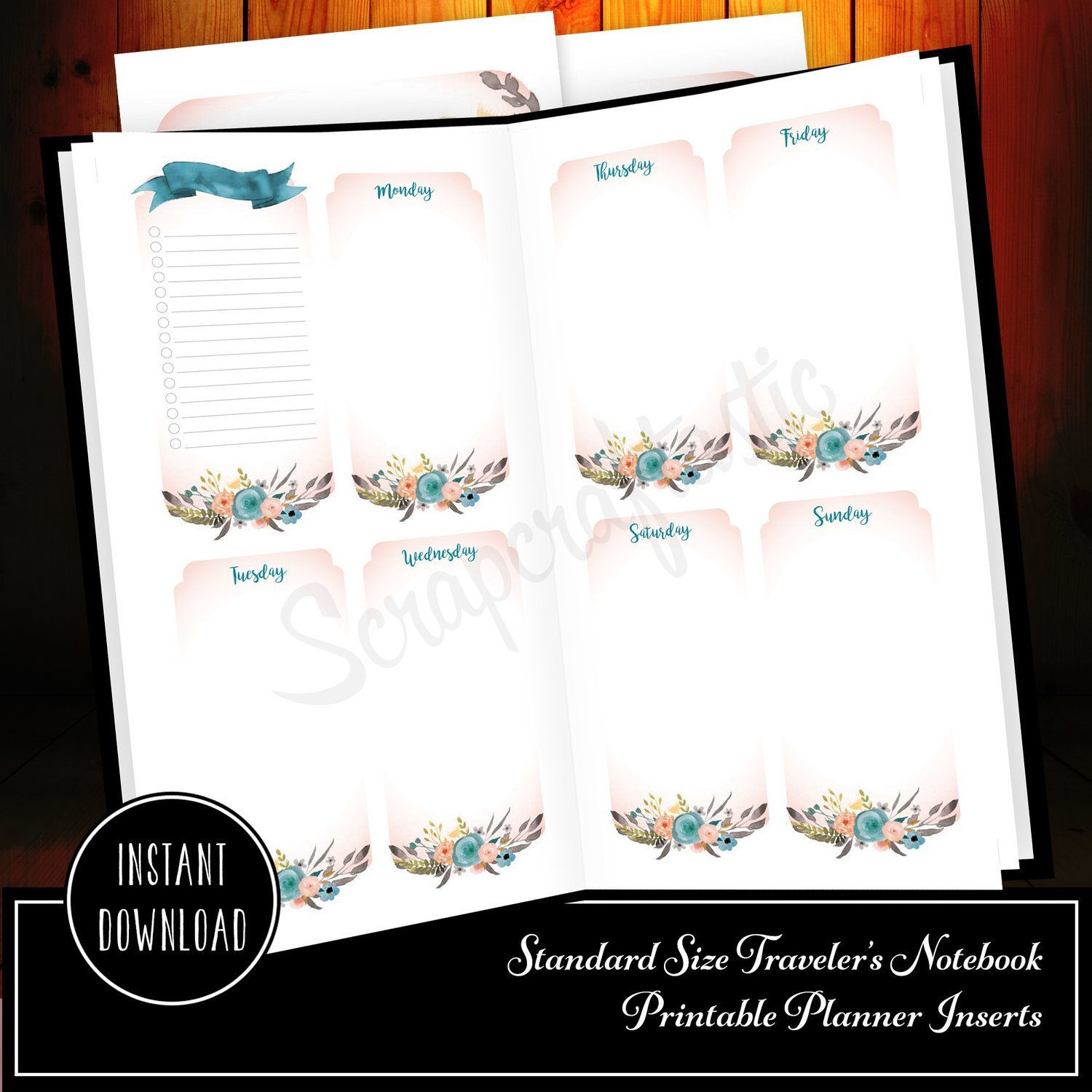 Ice Cream Undated Week on Two Page (WO2P) and Lined Notes Standard/Regular Size Designed Printable Travelers Notebook
