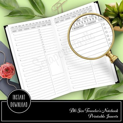 Day on One Page (DO1P) Hourly Printable Traveler's Notebook B6 Insert with List, Full Box and Lined Section