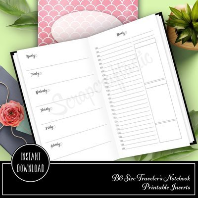 Full Month Notebook: Daily B6 Size with MO2P, WO1P Horizontal and DO1P Daily Schedule Pages Printable