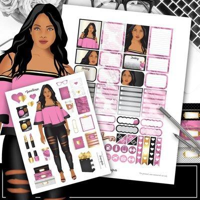Planner Queen June Rose Printable Planner Stickers, Planner Sticker Sampler and Clipart | Digital Download
