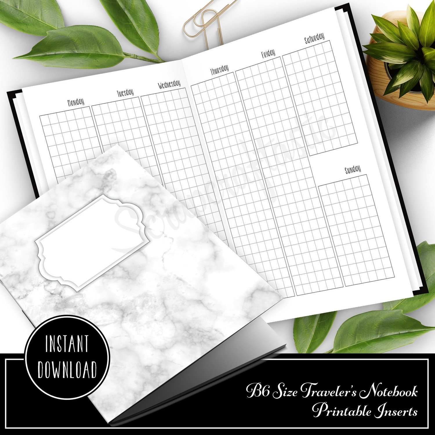 Vertical Grid Week on Two Pages (WO2P) B6 Traveler's Notebook Printable Inserts