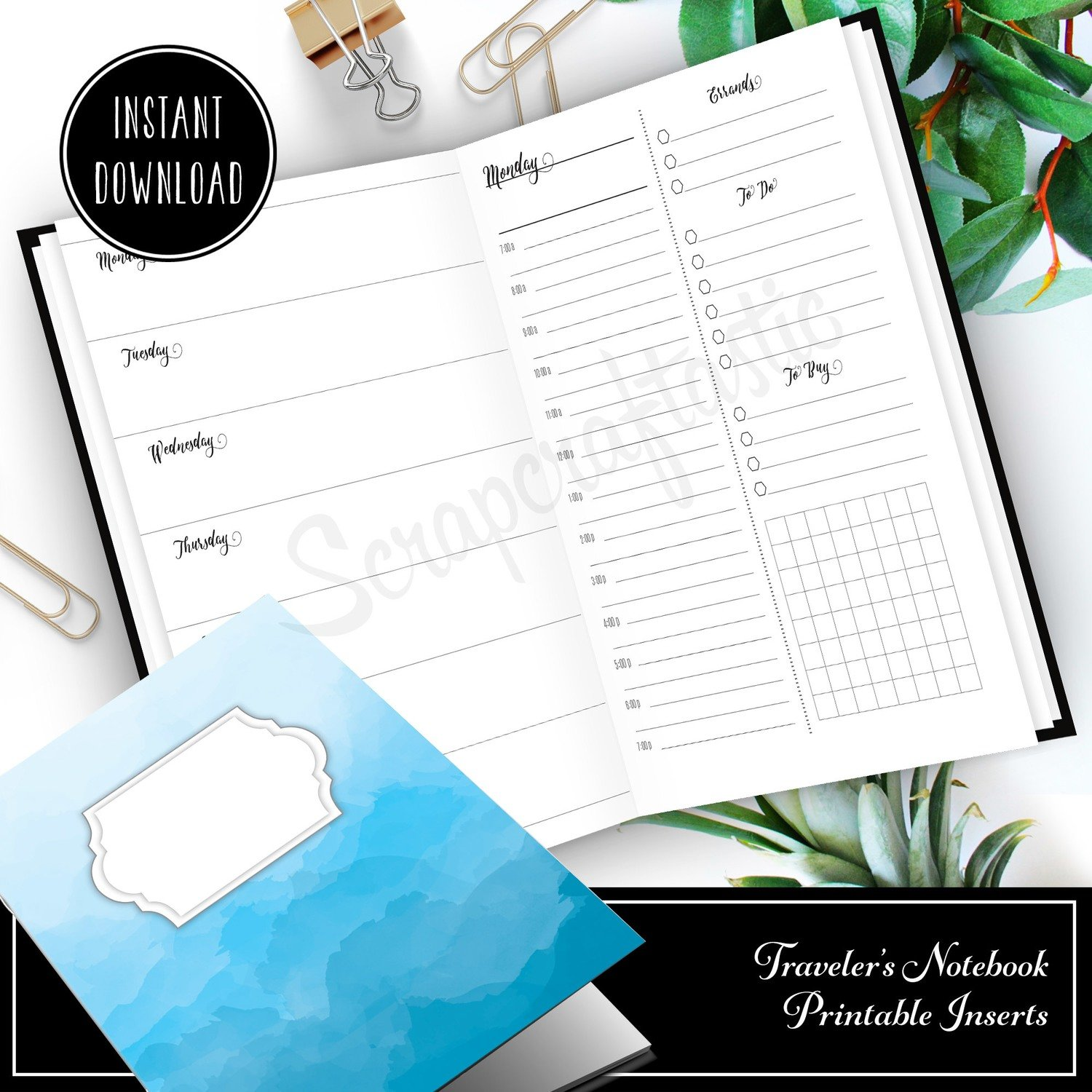 Full Month Notebook: Extended Daily Standard Size Printable Traveler's Notebook Insert with MO2P, WO1P Horizontal and DO1P Daily Schedule Pages