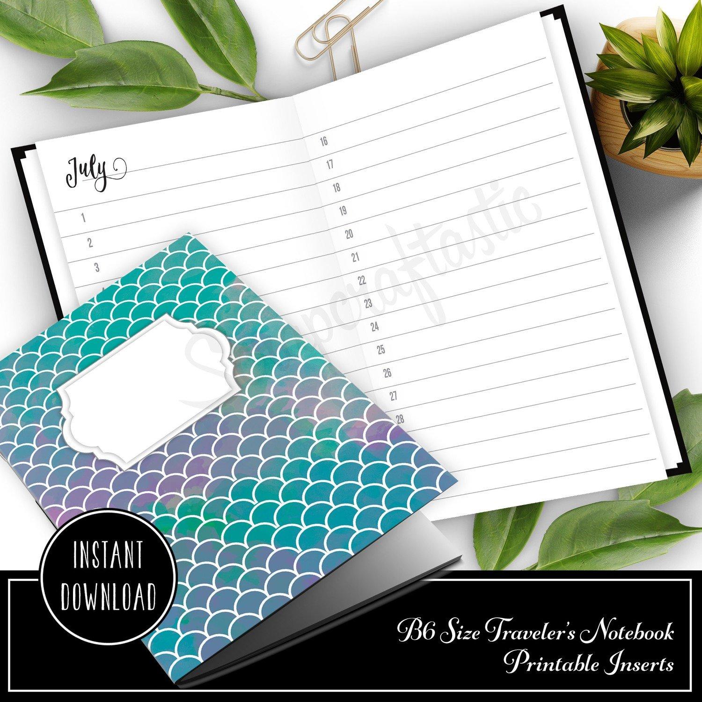 Full Year Notebook: Horizontal Month List B6 Printable Traveler's Notebook Insert