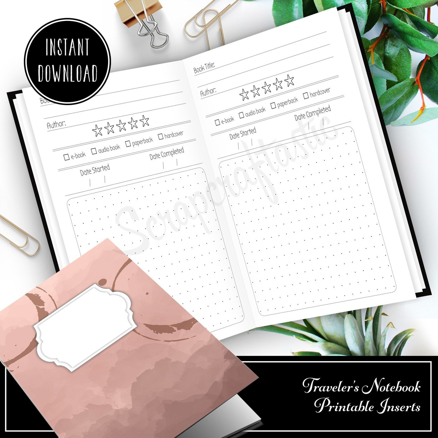 PERSONAL TN - Book / Reading Log and Review Personal Size Traveler's Notebook Printable Insert